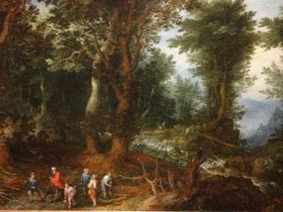 アブラハムとイサクのいる森林風景