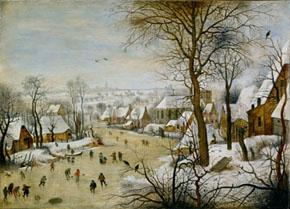 鳥罠のある冬景色